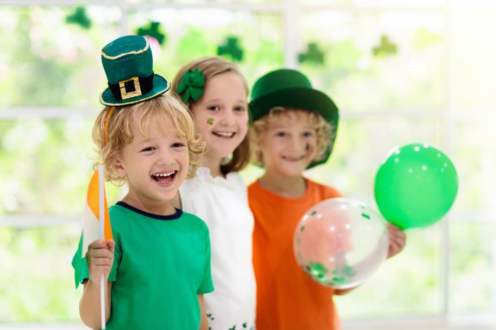 3 children celebrating St. Patrick's Day